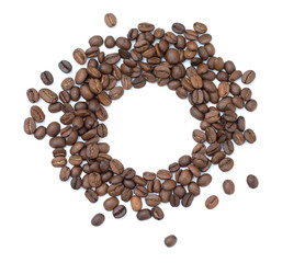 Coffee flat lay: an empty white background circle surrounded by coffee beans