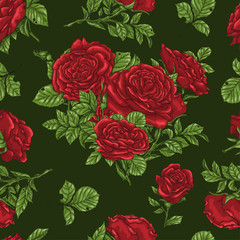 Seamless floral pattern with roses, hand draw.