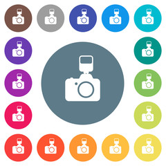 Camera with flash flat white icons on round color backgrounds