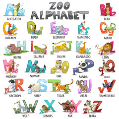 Alphabet for kids. ABC animals letters. Cartoon vector illustration for children's books, schoolbooks and education, isolated on white background.