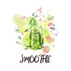 Hand drawn sketch style colorful smoothie with fruits and vegetables. Isolated vector illustration.