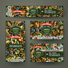 Corporate Identity vector templates set design with doodles hand drawn Automotive theme