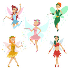 Cute fairy vector cartoon set. Funny flying girl character with butterfly wings and magic dust. Illustration of a tale princess isolated on white background.