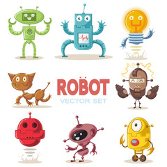 Cute robot flat cartoon character set. Vector illustration of a technological interactive toy isolated on a white background.