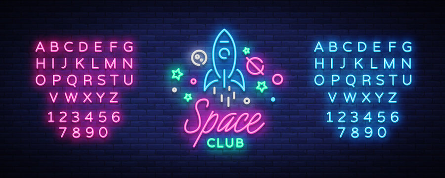 Space nightclub logo in neon style. Neon Sign, Light Banner, Night Bright Night Club Advertising. Disco. Design template for invitation party. Vector illustration. Editing text neon sign