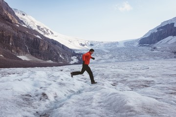 Man walking on a snow landscape