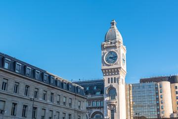 Paris, gare de Lyon, railway station, facade and clock