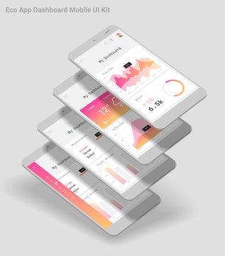 Flat design responsive Admin Dashboard UI mobile app with 3d mockups