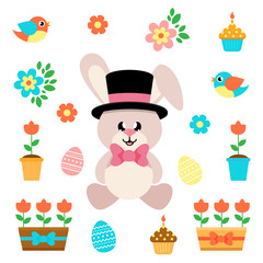 cartoon easter elements with bunny sitting in hat and tie