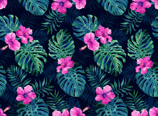 Seamless pattern with monstera and palm leaves on dark background.Tropical camouflage print. Neon Night
