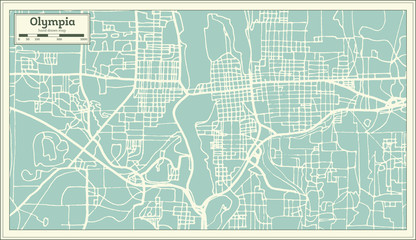 Olympia Washington USA City Map in Retro Style. Outline Map.