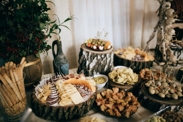 Beautifully decorated catering banquet table with cold snacks, weat, cheese