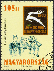HUNGARY - 2012: shows the scouts, the world jamboree, centenary of the foundation of the Hungarian Scout Association