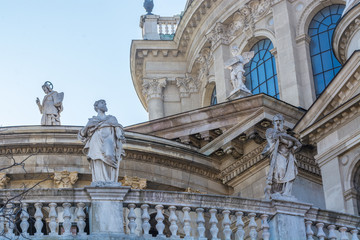 Traditional statues on the building of National Theater in Budapest