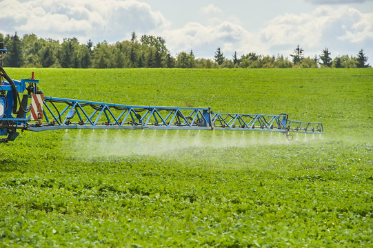 Tractor spraying pesticides on field with sprayer at spring