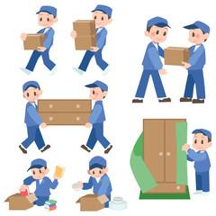 引っ越し作業をする業者セット