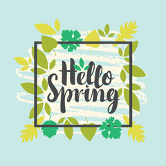 Vector banner with the inscription Hello Spring. Can be used for flyers, banners or posters. Vector illustration with different green leaves on blue background with white doodle