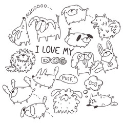 set of hand drawn doodle dogs