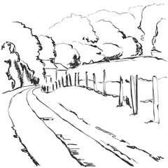 Hand made vector sketch. Village landscape. Fields, hiil, tree.