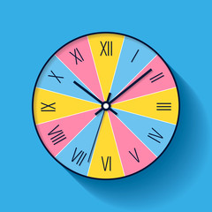 Colorful Clock icon in flat style with Roman numerals. Minimalistic timer on color background. Business watch. Vector design element for you project