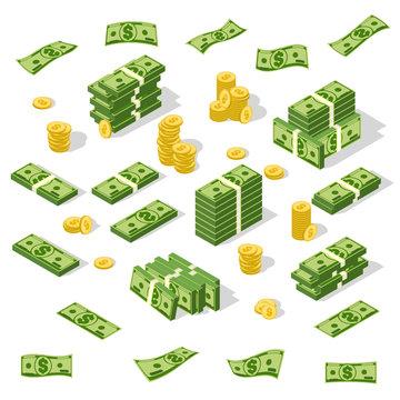 Set of isometric money isolated on white background.