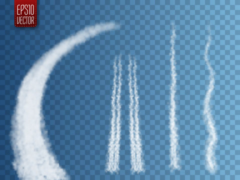 Vector airplane condensation trail. Smoke isolated on transparent background