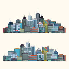 Colorful City illustration isolated on white background. Vector