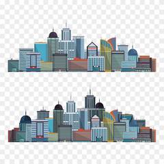 Colorful City illustration isolated on transparent background. Vector