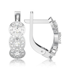 3D illustration isolated white gold or silver three stone solitaire diamond earrings with hinged lock with reflection