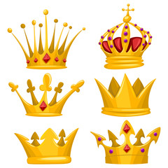 Gold crown for king, queen, princess and prince vector cartoon set. Royal attributes icons collection isolated on white background.