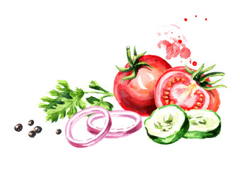 Fresh vegetables tomatoes, cucumber, onion, parsley, coriander, cilantro, pepper. Watercolor hand drawn illustration, isolated on white background
