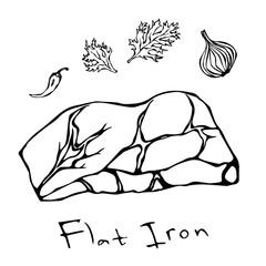 Most Popular Steak Flat Iron Beef Cut. Meat Guide for Butcher Shop or Steak House Restaurant Menu. Hand Drawn Illustration. Savoyar Doodle Style.