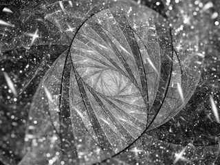 Stained-glass fractal spiral with particles black and white texture