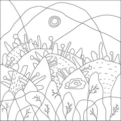 Landscape of geometric elements with lines. Anti stress coloring. Nature, trees and hills in the forest. The sun is in the sky. Vector illustration