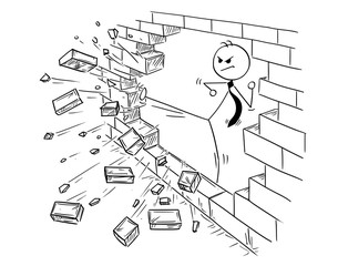 Cartoon stick man drawing conceptual illustration of businessman doing kung fu or karate kick to destroy the brick wall. Business concept of obstacle and solution.