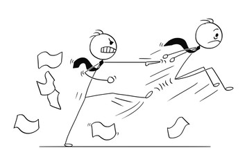 Cartoon stick man drawing conceptual illustration of Businessman fired or kicked out of the job by angry boss or manager. Business concept of employment and career.