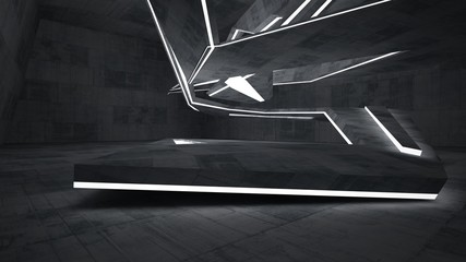 Abstract  concrete parametric interior with neon lighting. 3D illustration and rendering.
