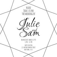 Wedding invitation geometric. Black and white. Simple template.