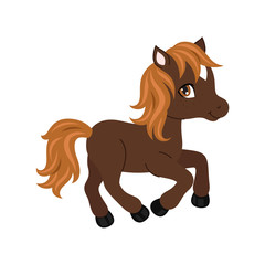 Adorable cartoon horse character.