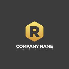 r modern letter logo template