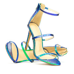 Fashionable strappy high heels sandals in shiny metallic colors