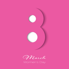 March 8 in paper cut style with shadows on pink color. International Women's day pink background. Vector illustration.