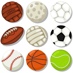 Different sport balls vector cartoon icons set. Basketball, soccer, rugby, tennis, baseball, golf, football, volleyball.