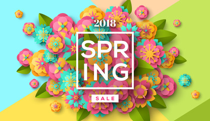 Spring sale with paper cut flowers