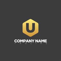 u modern letter logo template