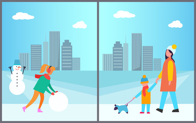 Woman Making Snowman Mother and Son Walking