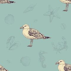 Vintage pattern with seagulls. Sea life