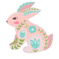 Illustration with rabbit and flowers in a Scandinavian style. Folk art.
