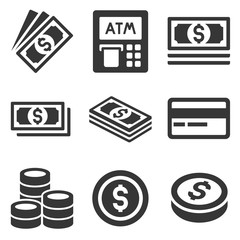 Cash Money Icons Set. Dollars and Coins. Vector