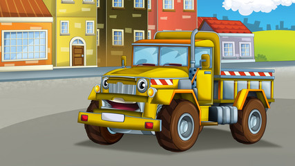 cartoon scene with industrial cargo truck in the city smiling and looking - illustration for children